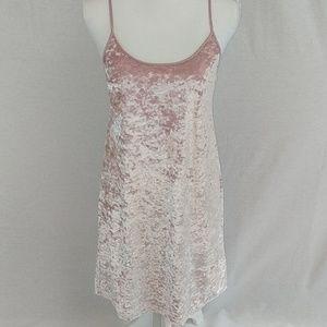 Victorias secret velvet soft pink slip dress gown